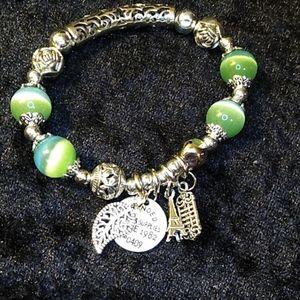 Jewelry - Bracelet Silver Green Paris Eiffel Tower